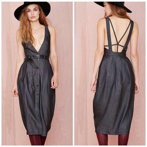 Nasty Gal Midi Plunge Gray Strappy Dress